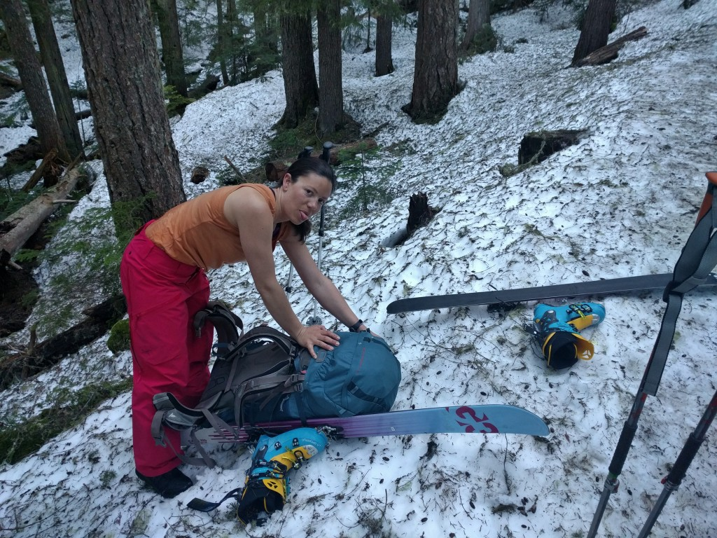 Christine, unimpressed, but happy to finally be able to put her skis on in that virgin snow...