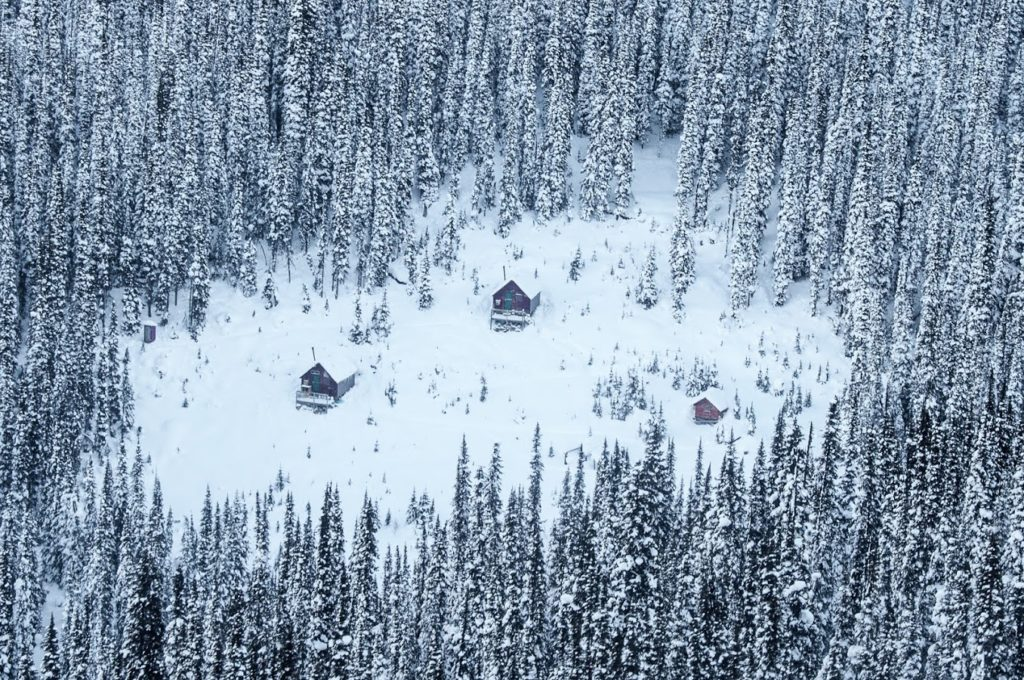 From left to right: outhouse, cookhouse, bunk house, sauna.