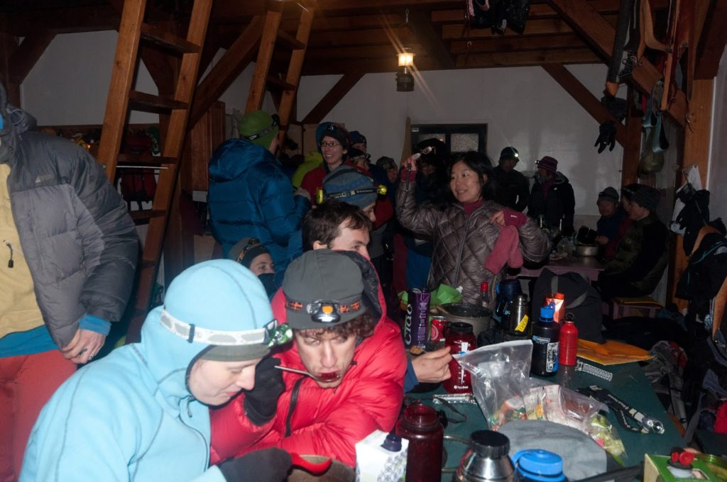 How to keep an un-heated hut warm: pile 30 or 40 people into it.
