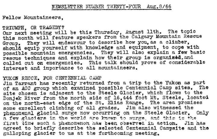 Newsletter snippet from August, 1966!