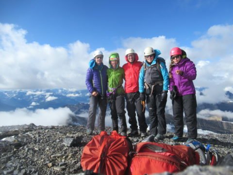Climbers on Mt Cline's summit